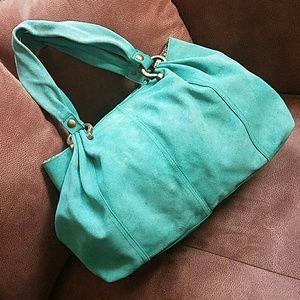 Mint green suede purse